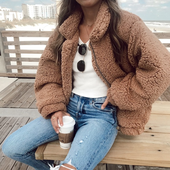 3a82a5c3dd4 Camel Colored Oversized Fuzzy Soft Teddy Coat
